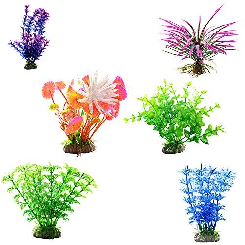 6pcs Künstliche Aquarium Plastik Pflanzen Buntes Sortiment für ein 60 Liter Aquarium Wasserpflanzen für Vorne Mitte und Hinten 6pcs 3