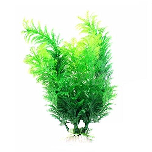 Hacoly Aquarium Pflanze Künstliche Deko Lang Blatt Pflanzen Aquarium Fish Tank Wasser Gras Pflanze Kunststoff Landschaft Ornament Grün künstliche Wasserpflanzen Aquariumpflanzen - Grün