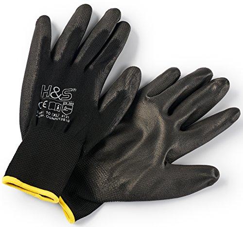 12 Paar Arbeits-Handschuhe von ISC H&S Nylon PU-beschichtet  verfügbar in S small 7 M medium 8 L large 9 XL x-large 10 XXL xxlarge 11  nahtlos vielseitig schwarz Größe 10 XL