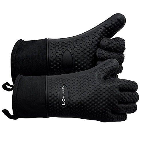 GEEKHOM Grillen Handschuhe hitzebeständige Handschuhe Grill Küche Silikon Ofenhandschuhe lange Wasserdicht Rutschfeste Topflappen zum Grillen Kochen Backen
