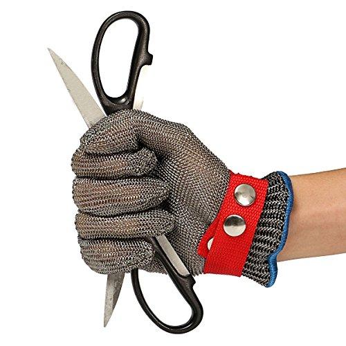 Schnittschutzhandschuhe LIUMY Schnittfeste Lebensmittelecht Handschuhe100 Edelstahl-Metal Mesh Metzgerhandschuh mit Weiße Stoffhandschuhe 105~11cm Breite