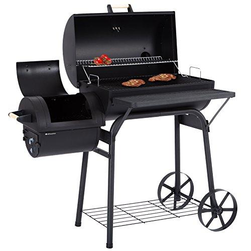 Ultranatura Smoker Grill Denver mit 2 Brennkammern Barbecue Grillwagen zum Grillen mit direkter indirekter Hitze BBQ Station ca119 x 66 x 135 cm