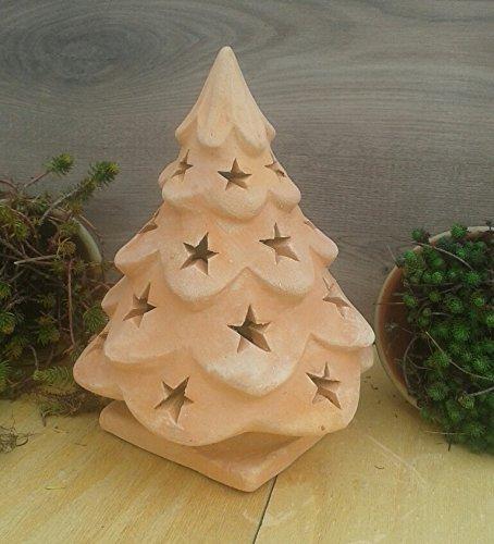 Weihnachtsbaum 30 cm beleuchtbar aus Terracotta Deko Garten Weihnachten Stern Motiv Windlicht Advent