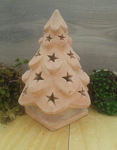 Weihnachtsbaum 40 cm beleuchtbar aus Terracotta Deko Garten Weihnachten Stern Motiv Windlicht Advent