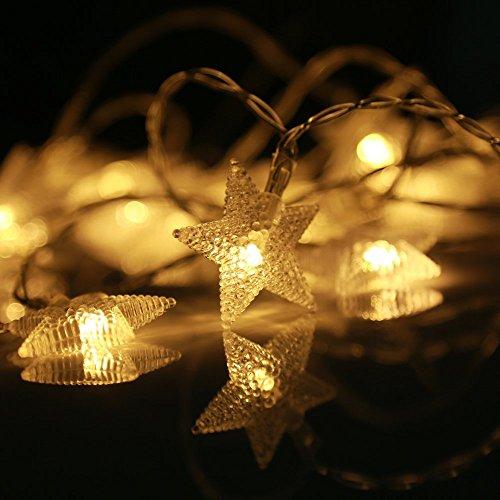LED-Lichterkette eSky24 LED-Lichterkette mit Sternen Batteriebetrieb 8 Modi mit Fernbedienung 40 LEDs 5m Warmweiß Beleuchtung für Weihnachten Heim-Dekoration Party Hochzeit Geburtstag usw