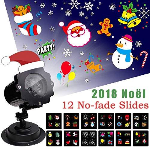 LED Projektionslampe Weihnachten Dekoration Projektor Weihnachten Halloween mit 12 Verschiedenen und Austauschbaren Musters