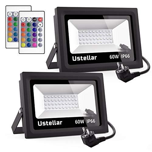 Ustellar 2er RGB 60W LED Strahler mit Fernbedienung IP66 Wasserdicht 16 Farben 4 Modi LED Fluter Scheinwerfer LED Außenleuchten Stimmungslichter für Weihnachten Garten Innen und Außen Dekoration