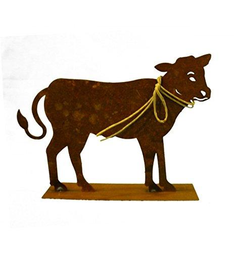 Metallmichl Edelrost Kalb Mini 15 x 20 cm Tierfigur aus rost Metall Tisch-DekoFensterbank-Deko