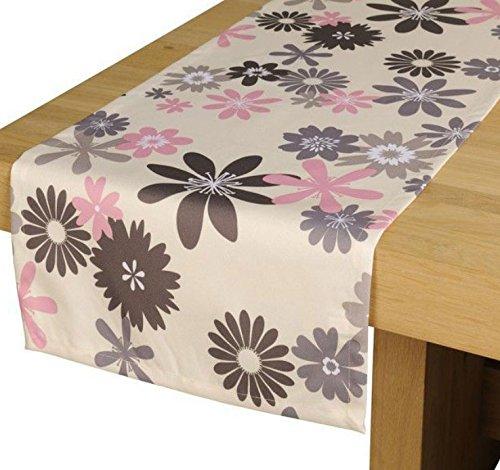 Outdoor TISCHLÄUFER Capri grau-rosa Gartentisch Läufer Tischdecke Tisch-Deko wasserabweisend 42cmx145cm
