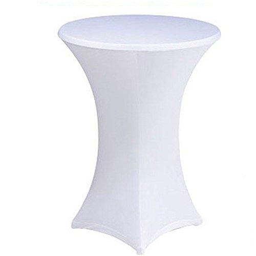 qcwn weiß highboy Cocktail Tisch BistroPoser Person Tischdecke dehnbar elastischer Polyester rund Tisch Deko weiß 27x43 inch