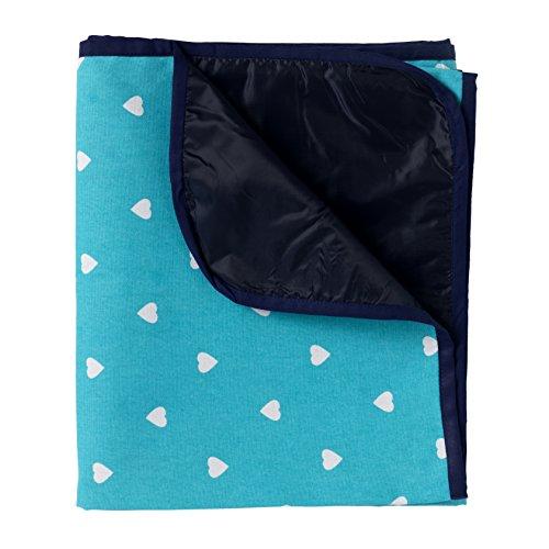 Extra große Picknickdecke - Aqua Blau mit Weißen Herzen