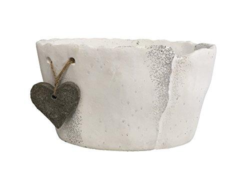 Keramik Jardiniere mit Herz weiß oval 205cm x 115cm H115cm Pflanzschale Göteborg Keramikschale Blumenschale Hochzeitsdeko Schiefer Optik Tischdeko Fensterdeko Dekoschale Blumentopf Umtopf Übertopf Blumenübertopf