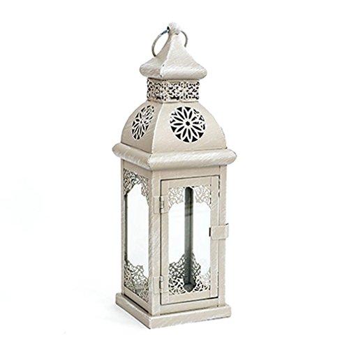 Laterne - Windlicht Hellbraun-weiß - Shabby-Stil Gartendeko mit Verzierung Terrassendeko Von Haus der Herzen