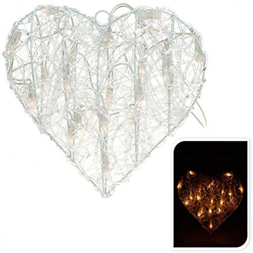 Unbekannt Beleuchtetes Deko Herz 30cm Acryl Weihnachtsstern 20 Lampen warm-weiß Weihnachtsbeleuchtung