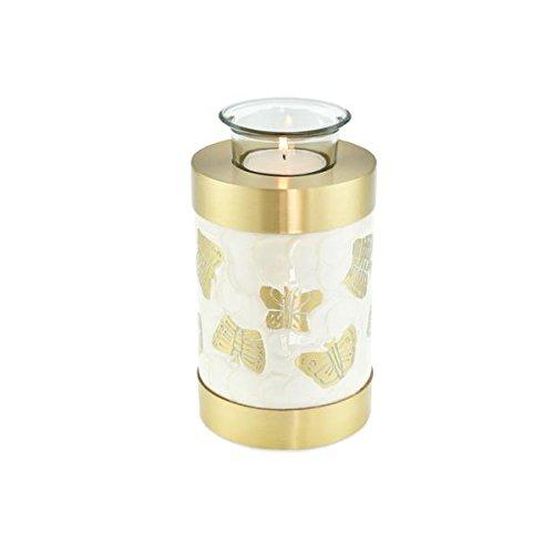Cherished Urns Kaleidoskop weiß Perle Schmetterling Teelicht Urne Urne für Asche
