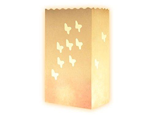 Trendmausde 10 Stk Kerzentüte Lichttüten weiß Kerzentüte Schmetterlinge