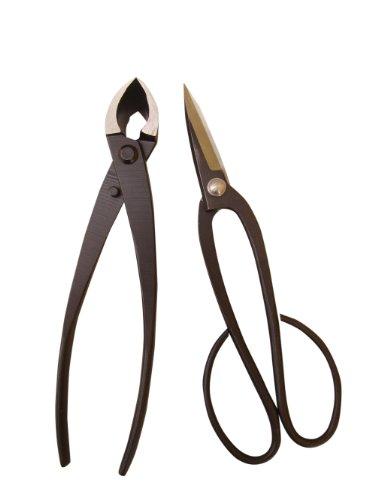 Genki-Bonsai Bonsaiwerkzeugset mit 2 Profi Werkzeugen in schwarz Bonsaischere mittelbreit Konkavzange 200 mm