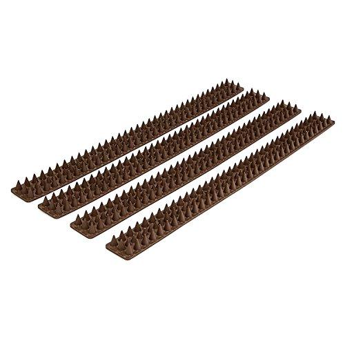 Relaxdays Vogelabwehr 4 Paneele je 49 cm mit Spikes Gesamtlänge 2 m mit jeweils H x B x T 17 x 42 x 49 cm für dunkelbraun