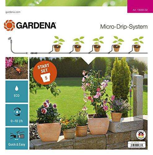 GARDENA Start Set Pflanztöpfe S Aktion Das Micro-Drip-System Starterset für 5 Topfpflanzen wasserparende automatische Bewässerung 13000-32