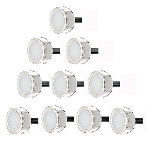 10er Set Ø30mm 06W 12V Boden Einbaustrahler 9LM Außen IP67 Wasserdichte LED Bodenleuchten Treppen Beleuchtung Set Kaltes Weiß