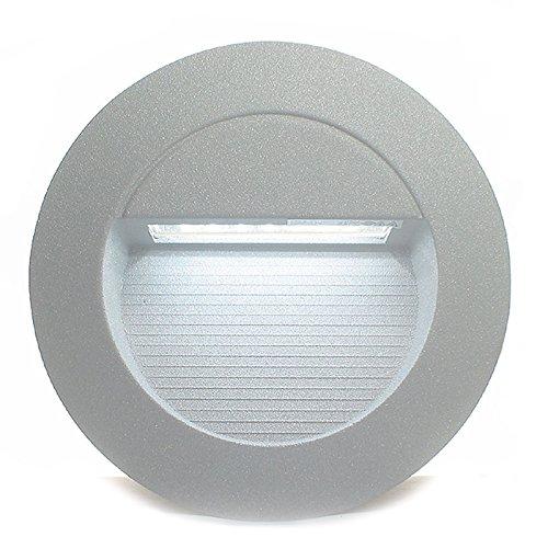 5er Set RAYON rund 1-5er Sets LED Kalt-Weiß 230V IP65 Wandeinbauleuchte Einbaustrahler Stufenbeleuchtung außen Wandleuchte Treppenleuchte Treppenlicht Sicherheitslicht