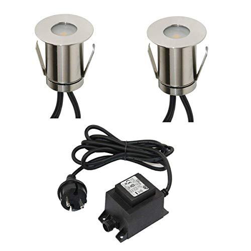 VBLED Boden-Einbaustrahler 03W Mini LED warm-weiß IP67 wassergeschützt aus robustem Edelstahl befahrbar inkl Netzteil und Kabel Terrassen-Einbauspots 2er-Set
