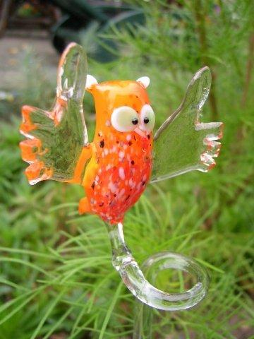 Eule Orange Orchideenstab - Blumenstab mit Vogel Figur aus Glas - Rankhilfe Kauz Deko Orchideen Blumen Garten u 3