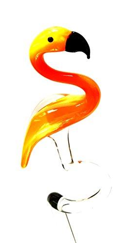 Flamingo Orange Orchideenstab - Rankhilfe Blütenstütze aus Glas Mit Figur - Vogel Deko Garten Blumen