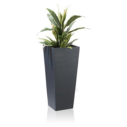 Pflanzkübel Blumenkübel LAVIA Fiberglas Pflanztopf - Farbe anthrazit matt - robuster UV-beständiger wetterfester frostsicherer Blumentopf für den Garten Innen- Außenbereiche