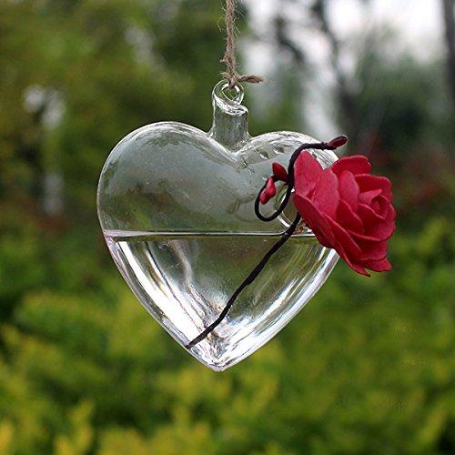 Rosepoem Terrarium Pflanzen Hängen Glas Herzform Pflanze Kleiderbügel Air Plant Halter Container Terrarien Aus Glas Für Blumen Pflanzen Hausgarten Wanddekor