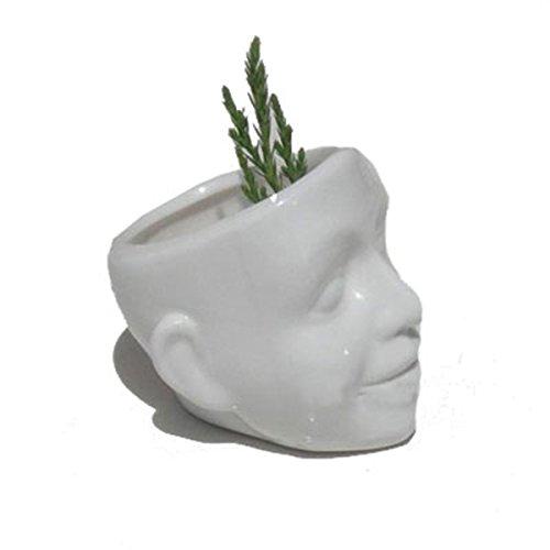 Tasche Keramik Blume Töpfe Weiß Schädel Lächeln Gesicht Gedruckt Blumentopf Zuhause Desktop Garten DekorGesicht