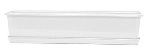 Balkonkasten Blumenkasten mit Untersetzer Venus 80 cm Weiß