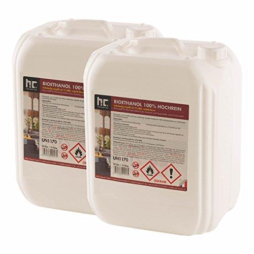 Höfer Chemie 20 L Bioethanol 2 x 10 L für Ethanol Kamin Ethanol Feuerstelle Ethanol Tischfeuer und Bioethanol Kamin