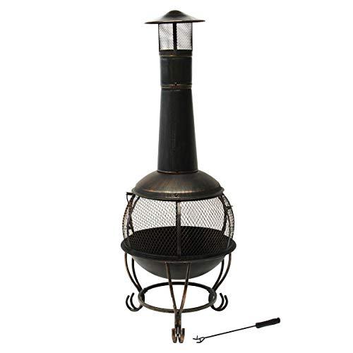 TAINO Terrassenofen Gartenofen Metall Kamin Feuerstelle BBQ Grill Deckel Schürhaken Vintage schwarz 150 cm
