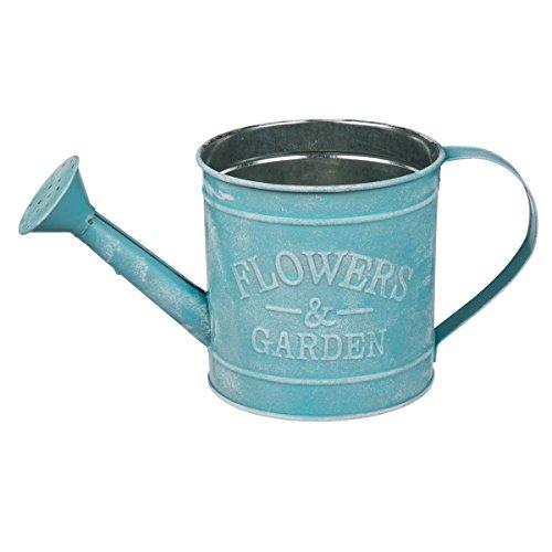 Objektkult Vintage Gießkanne Metall als Pflanztopf oder Deko Pastellfarben 3D-Imprint Flowers Garden 12 x 26 x 12 cm H x B x T mit fest verbautem Gießaufsatz 900 ml Farbeblau