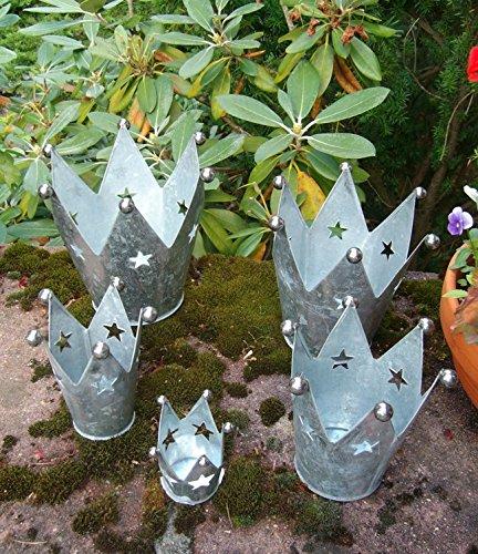 Deko-Kronen 5er -Set Windlicht Gartendeko Pflanztopf Eisen verzinkt