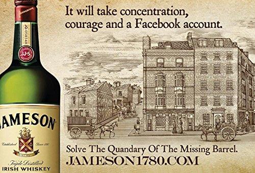 Schatzmix Jameson Irish Whisky The Missing Barrel Facebook Alkohol Metal Sign deko Sign Garten Blech