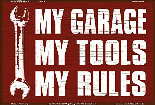 Schatzmix My Garage My Tools My Rules lustig Metal Sign deko Schild Blech Garten