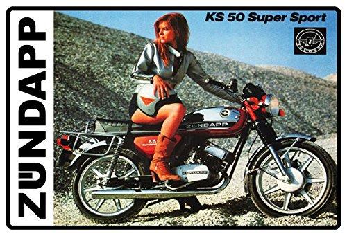 Zündapp KS50 Super Sport Frau am Motorrad Metal Sign deko Sign Garten Blech
