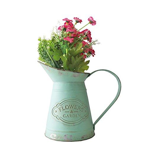 APSOONSELL Retro-Blume Eisen Topf Shabby Chic Metall Krug Vase Gießkanne Blumen Bucket Home Decor mit Griff grün Large
