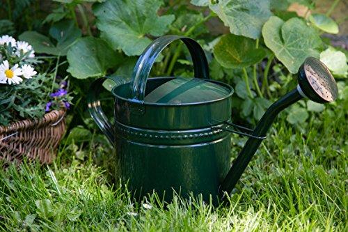 KUHEIGA Gießkanne 35 Liter Grün Metall Zinkkanne Verzinkt Kanne 9005 Wasserkanne