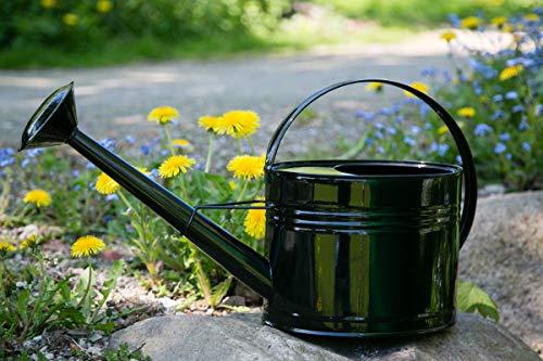 KUHEIGA Gießkanne 5 Liter Schwarz Metall Zinkkanne Verzinkt Kanne 9005 Wasserkanne