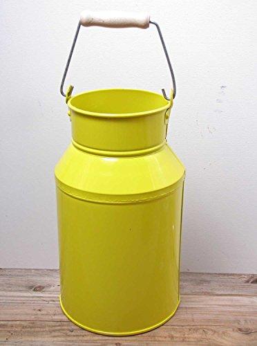 Milchkanne mit Griff Metall D 21 cm gelb Deko-Kanne Metall-Kanne Dekokanne