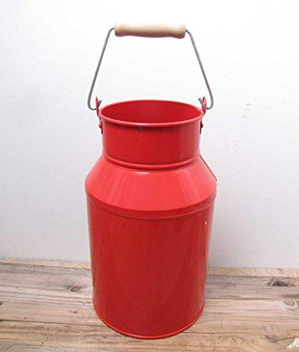 Milchkanne mit Griff Metall D 21 cm rot Deko-Kanne Metall-Kanne Dekokanne