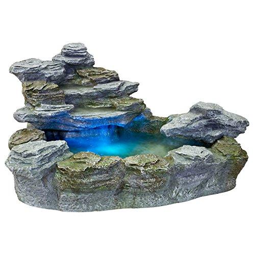 STILISTA Mystischer Gartenbrunnen OLYMP in Steinoptik 100x80x60cm groß Springbrunnen inkl Pumpe und LED- Beleuchtung rot blau gelb grün