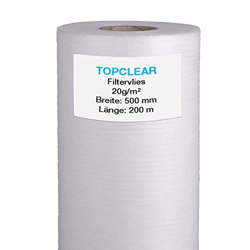 Filtervlies für Vliesfilter  Vliesrolle 200m x 50cm 20gm²  für alle Koi Teich Vlies-Filter geeignet  hydrophiles wasserdurchlässiges Fleece  500mm Topclear Filtervlies in Profiqualität