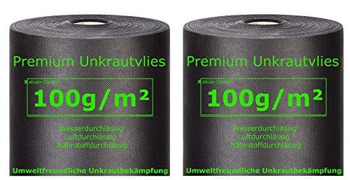 Xabian Anti Unkrautvlies 100gm² Filtervlies 2 Rollen 50m x 1m  100m²  Gartenvlies mit hoher UV-Stabilisierung - sehr reißfest und wasserdurchlässig