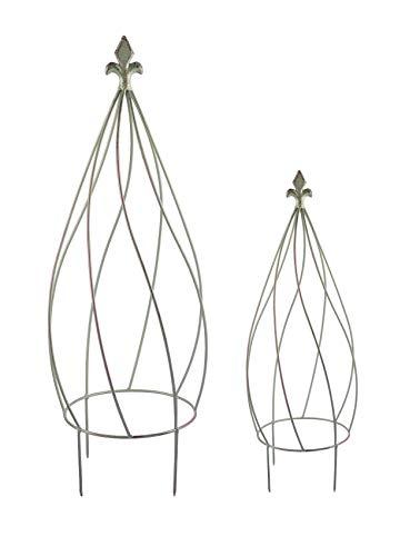 Metall Rankhilfe antik grün 2er-Set Zwiebelform Kübelpflanzen Rankgitter Obelisk