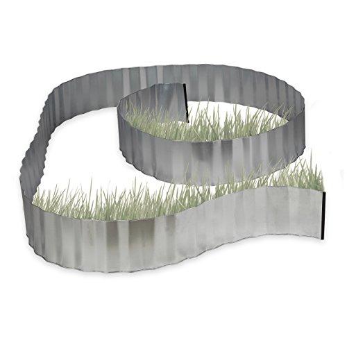 Relaxdays Rasenkante verzinkt Beetumrandung Metall Beeteinfassung als Wurzelsperre 5 m x 16 cm flexibel silber grau