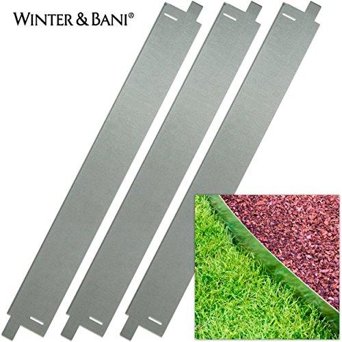 Winter Bani Rasenkanten  3 Stück  Metall  Gesamtlänge zusammengesteckt 3 Meter  Stabil Aber biegsam